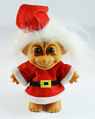 Troll Doll Santa in Santa Suit and Hat with White Hair by Russ 5 3/4