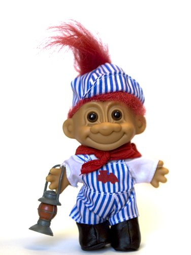 My Lucky Troll Train Conductor Troll Doll (Red Hair) by Russ Berrie