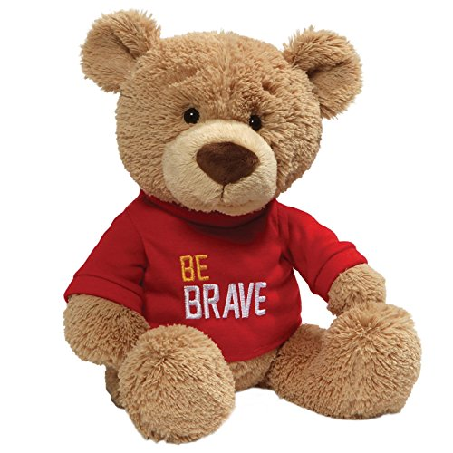 GunGUND Be Brave Red T-Shirt Teddy Bear Stuffed Animal Plush, Tan, 12.5