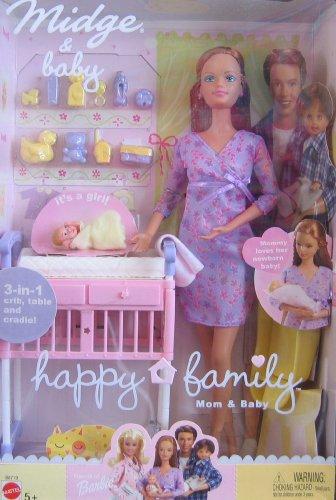 Barbie Happy Family Midge Amp Baby Doll Set W 3 In 1 Crib