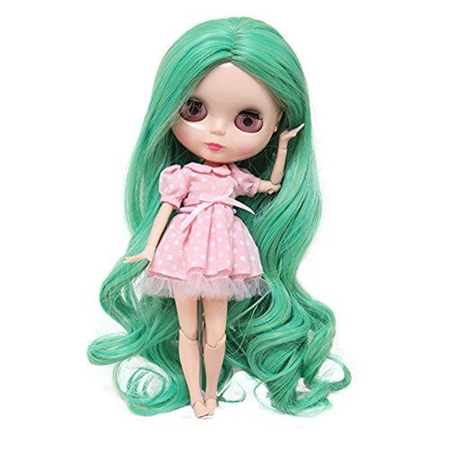 Wigs Only!Brand New Long Loose Wavy Apple Green Blended Colors Baby Doll Hair Wigs for Blythe Pullip