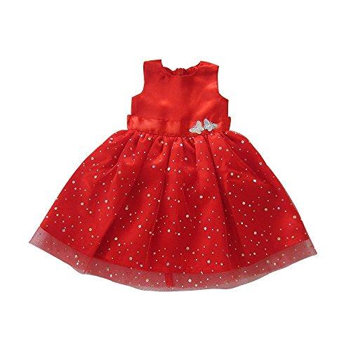 Robe de poupée pour poupées de 18 pouces, belle robe rouge avec une tenue à pois pour poupée américaine, notre génération et d'autres poupées de 18 pouces