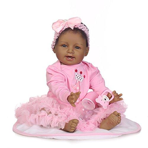 Reborn Baby Dolls Girl Black Skin African American Baby Newborn 22inch Biracial Newborn Silicone Vinyl Doll