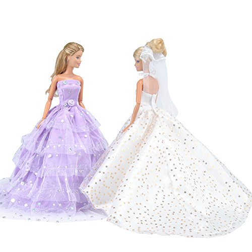 E-TING Sequin Gown, 2 pcs Princess Dress, Beautiful Bride Clothing with Veil and Scarf, Handmade Doll Party Dresses Ball Clothes for Barbie Dolls