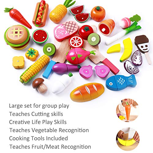 iPlay, iLearn Cutting & Cooking Toy, Wooden Food, Pretend ...