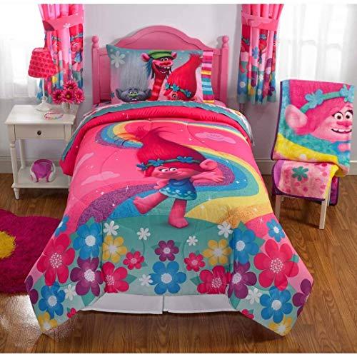 4 piece girls pink blue kids dreamworks trolls comforter