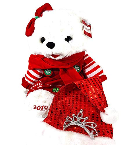 Global Merchandise 2020-21 Christmas Bear Teddy Bear 2020-21 Holiday Bear Holiday Time Large Stuffed Plush Animal Keepsake 1st with Tiara Santa Hat - Red Candy Cane Girl