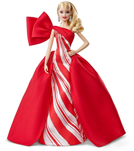 2020-21 Holiday Barbie Doll, 11.5-Inch, Blonde, Wearing Red and White Gown, with Doll Stand and Certificate of Authenticity